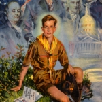 Lithograph of a Boy Scout with America's Founding Fathers by Howard Chandler Christy