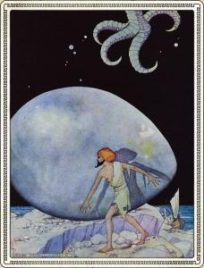 Virginia Frances Sterrett (1900-1931)   The Sky Became Dark from The Tale of Sinbad the Sailor, 1928   Illustration for Arabian Nights (Philadelphia: The Penn Publishing Company, 1928)