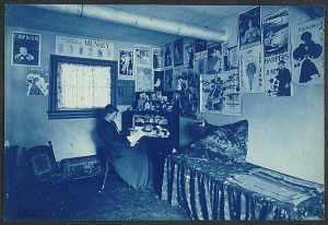 Frances Benjamin Johnston (1964-1952) | Photograph of Frances Benjamin Johnston seated at a desk in her studio/office, between 1890 and 1900 | Cyanotype | Library of Congress Prints and Photographs Division