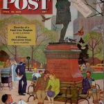 Mead Schaeffer (1898-1980) | Romance Under Shakespeare's Statue | Cover illustration for The Saturday Evening Post (April 28, 1945)