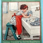 Jessie Willcox Smith (1863-1935) | Girl Washing Dishes, 1932 | Cover illustration for Good Housekeeping (November 1932) and again for the British edition of the magazine (January 1933)
