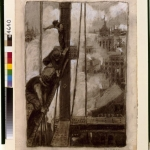 Thornton Oakley (1881-1953) | [Three ironworkers on girder with steam and rooftops in background, New York City]   1904 |Unused illustration probably created for Century Magazine | Charcoal and Chinese White on paper | Cabinet of American Illustration, Prints and Photographs Division, Library of Congress; gift of Jay Last