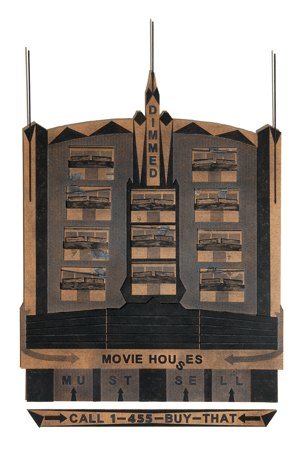 : Black Marquee No. 1: Movie Houses / charcoal, tape, wood, cardboard / 34 3/4 x 23 1/2 x 1 inches / 2020