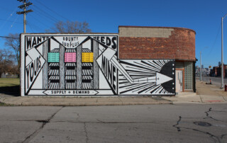 Supply + Demand / painted mural with wood crate constructions 20 feet h. x 50 feet w. / 2019-2020