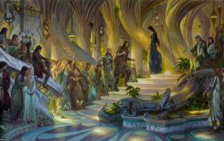 27. Donato Giancola, Beren and Luthien in the Court of Thingol and Melian, 2015