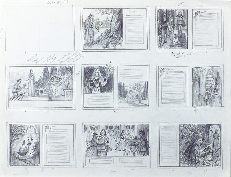 12. Ruth Sanderson, The Twelve Dancing Princesses thumbnail sketch, 1990