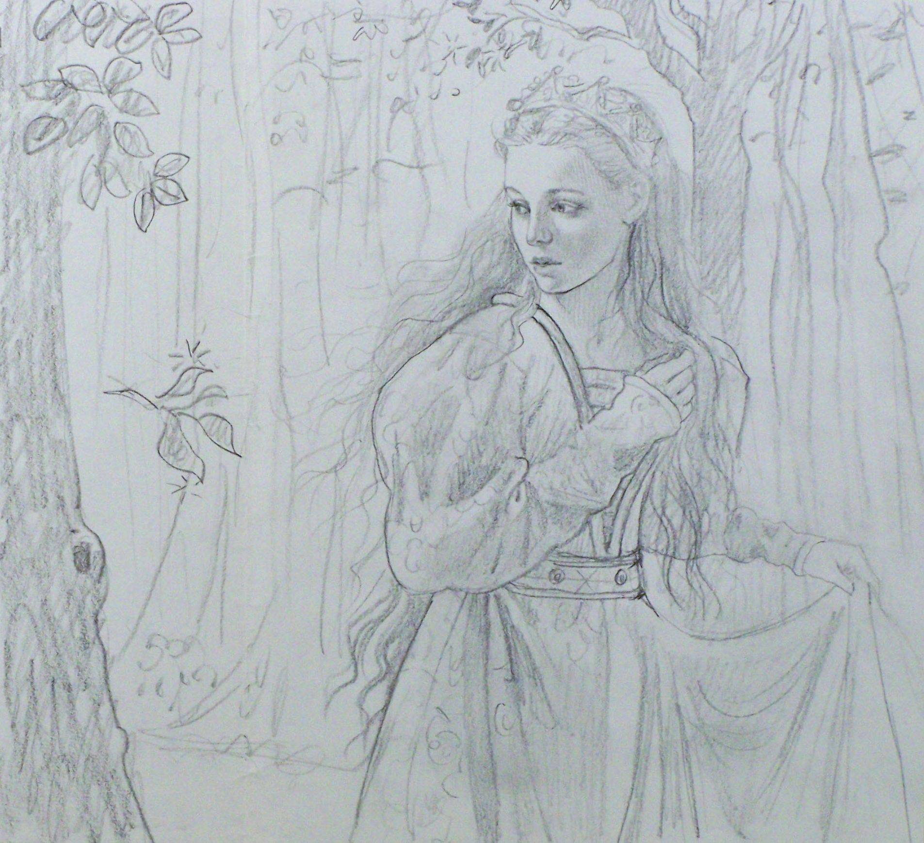 14. Ruth Sanderson, The Twelve Dancing Princesses sketch, 1990